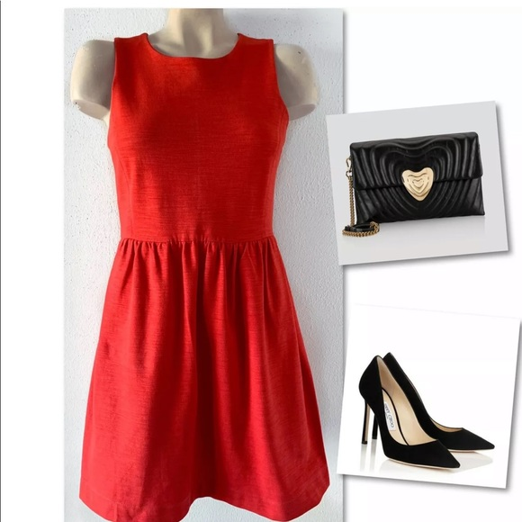 Madewell Dresses & Skirts - MADEWELL RED RUCHED FIT & FLARE DRESS SZ S